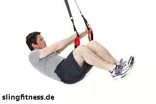sling-training_Bauch_Assisted Crunch, Arme zur Seite mit Beine ranziehen_2