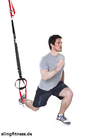 sling-training Ganzkörper Lunge mit Sprung und Pushup 1