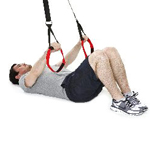 sling-training-Bauch-Assisted Crunch mit aufgesetzten Beinen